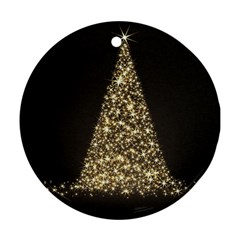 Christmas Tree Sparkle Jpg Twin-sided Ceramic Ornament (Round)