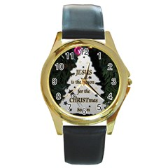Jesus is the Reason Black Leather Gold Rim Watch (Round)