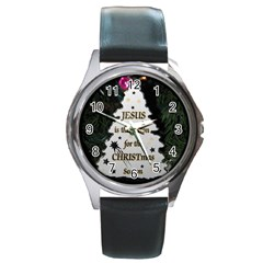 Jesus is the Reason Black Leather Watch (Round)