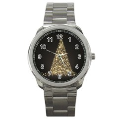 Christmas Tree Sparkle Jpg Stainless Steel Sports Watch (Round)