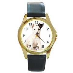 55190649 Black Leather Gold Rim Watch (round)