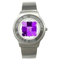 Purple Shades Stainless Steel Watch (Round)