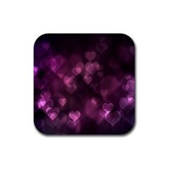Purple Bokeh Rubber Drinks Coaster (Square)