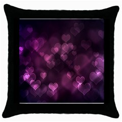 Purple Bokeh Black Throw Pillow Case