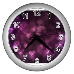 Purple Bokeh Silver Wall Clock