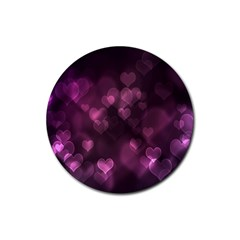 Purple Bokeh 4 Pack Rubber Drinks Coaster (Round)
