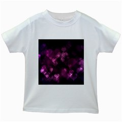 Purple Bokeh White Kids'' T-shirt