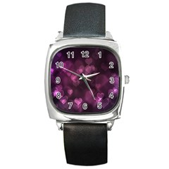 Purple Bokeh Black Leather Watch (square)