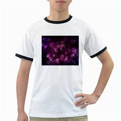 Purple Bokeh White Ringer Mens'' T Shirt