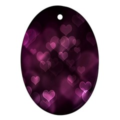 Purple Bokeh Oval Ornament (Two Sides)
