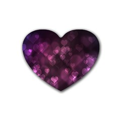 Purple Bokeh 4 Pack Rubber Drinks Coaster (heart)