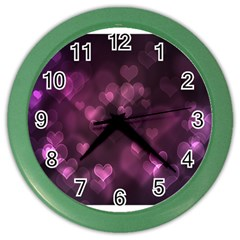 Purple Bokeh Colored Wall Clock