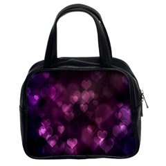 Purple Bokeh Twin Sided Satched Handbag