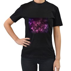 Purple Bokeh Black Womens'' T-shirt