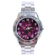 Purple Bokeh Stainless Steel Analogue Watch (round)