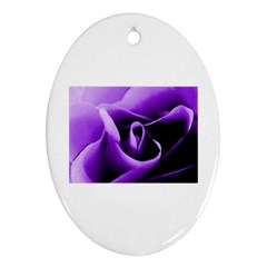 Purple Rose Ceramic Ornament (Oval)