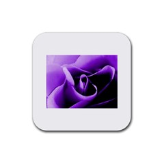 Purple Rose Rubber Drinks Coaster (Square)