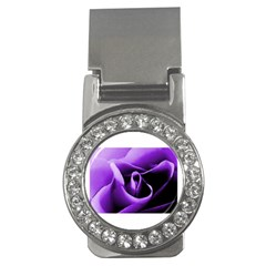 Purple Rose Money Clip with Gemstones (Round)