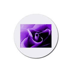 Purple Rose 4 Pack Rubber Drinks Coaster (Round)