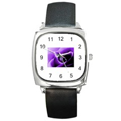 Purple Rose Black Leather Watch (Square)
