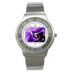 Purple Rose Stainless Steel Watch (Round)
