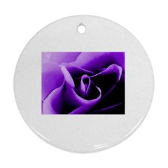 Purple Rose Twin Sided Ceramic Ornament (round)
