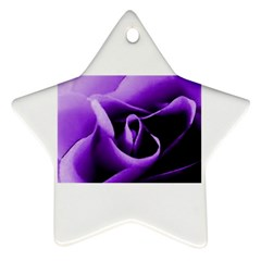 Purple Rose Twin Sided Ceramic Ornament (star)
