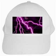 Purple Lightning White Baseball Cap