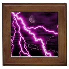 Purple Lightning Framed Ceramic Tile