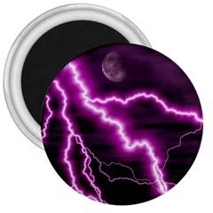 Purple Lightning Large Magnet (Round)