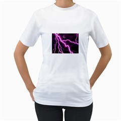 Purple Lightning White Womens  T-shirt