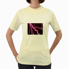 Purple Lightning Yellow Womens  T Shirt