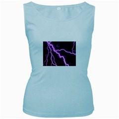 Purple Lightning Baby Blue Womens  Tank Top