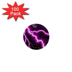 Purple Lightning 100 Pack Mini Magnet (Round)