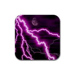 Purple Lightning Rubber Drinks Coaster (Square)