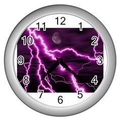 Purple Lightning Silver Wall Clock