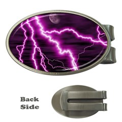 Purple Lightning Money Clip (Oval)