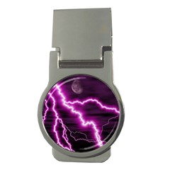 Purple Lightning Money Clip (Round)