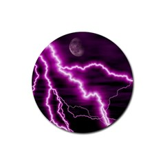Purple Lightning 4 Pack Rubber Drinks Coaster (round)