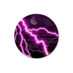 Purple Lightning Large Sticker Magnet (round)
