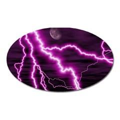 Purple Lightning Large Sticker Magnet (oval)