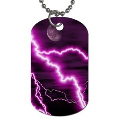 Purple Lightning Twin Sided Dog Tag