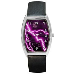 Purple Lightning Black Leather Watch (Tonneau)