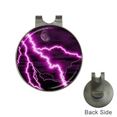 Purple Lightning Hat Clip with Golf Ball Marker