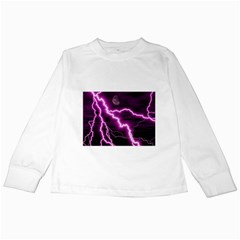 Purple Lightning White Long Sleeve Kids'' T-shirt