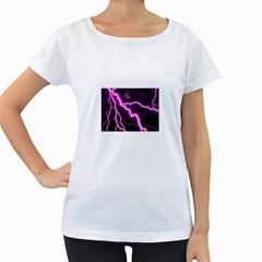 Purple Lightning White Oversized Womens'' T-shirt