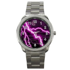 Purple Lightning Stainless Steel Sports Watch (Round)