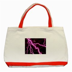 Purple Lightning Red Tote Bag