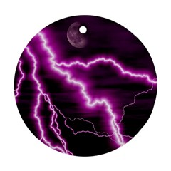 Purple Lightning Twin-sided Ceramic Ornament (Round)