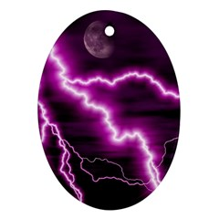 Purple Lightning Oval Ornament (Two Sides)